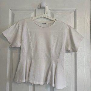 Topshop White Short Sleeve Peplum Top